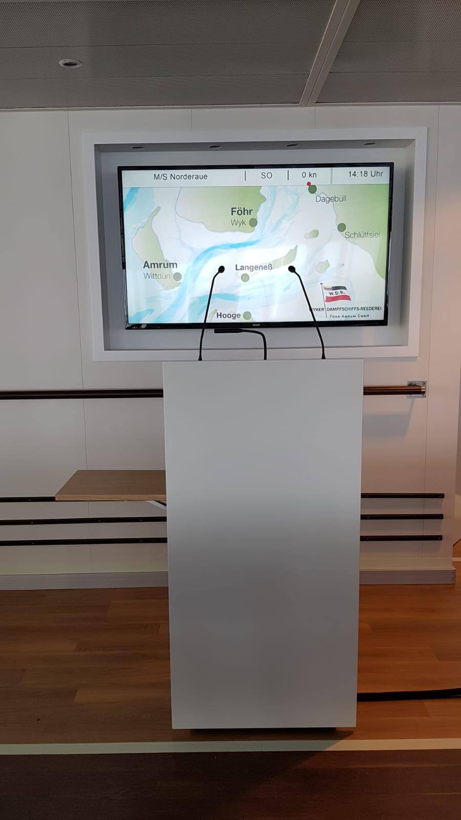 "Rednerpult faircom congress der Fähre ""Norderaue"""